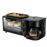 3 in 1 Electric Breakfast Machine Multifunction Coffee Maker + Frying Pan + Mini Oven Household Bread Pizza Oven (Black)