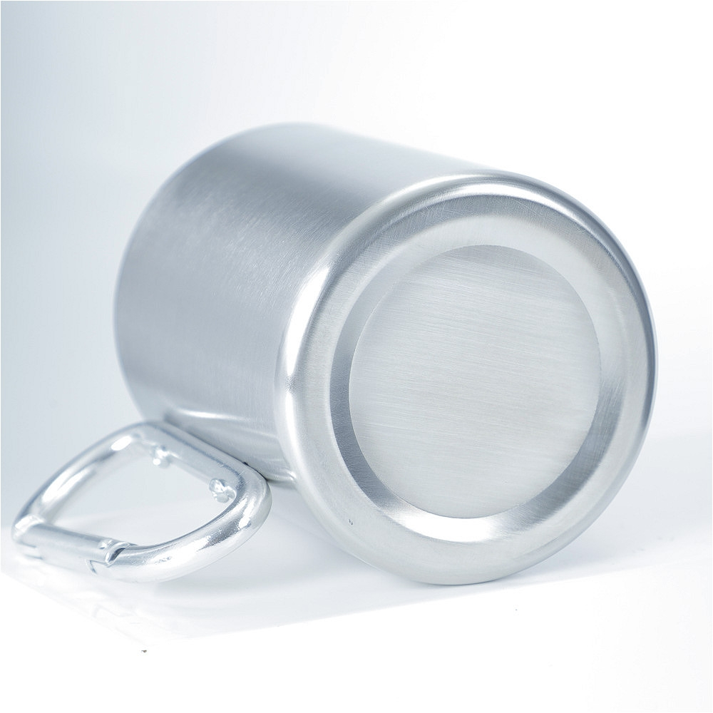 Stainless Steel Double Walled Water Mugs Coffee Cup with Carabiner Handle, Random Color Delivery