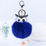 Owl Car Pendant Faux Fur Ball Keychain Handbag Hanging (Royal Blue)