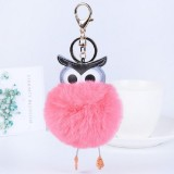 Owl Car Pendant Faux Fur Ball Keychain Handbag Hanging (Pink)