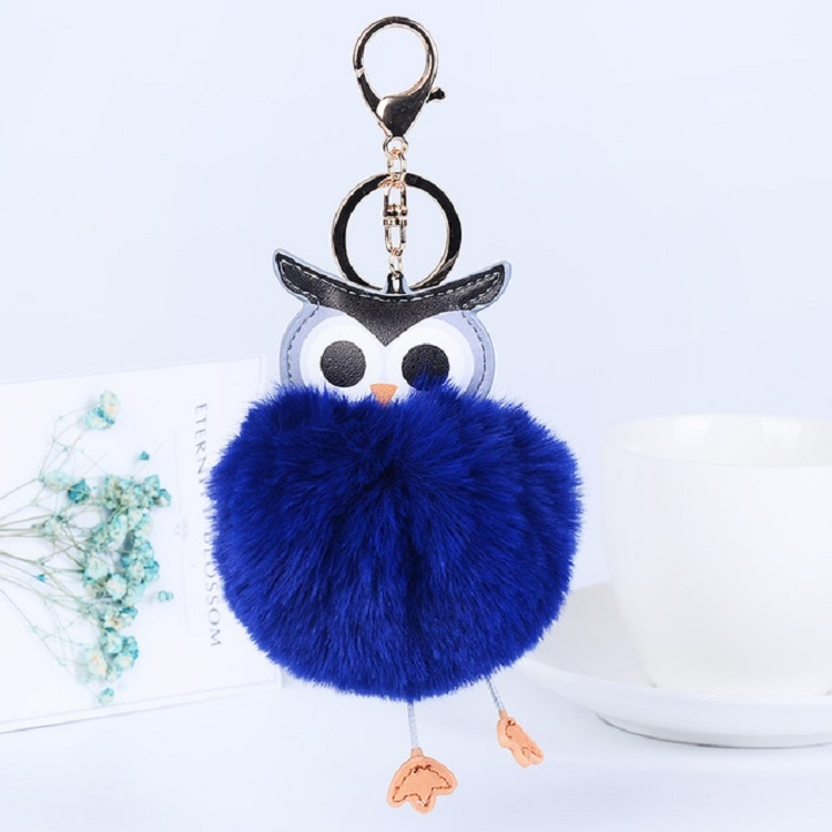 Owl Car Pendant Faux Fur Ball Keychain Handbag Hanging (Pink)