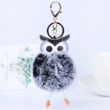 Owl Car Pendant Faux Fur Ball Keychain Handbag Hanging (Gray-black)
