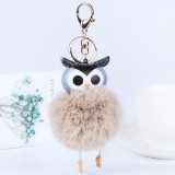 Owl Car Pendant Faux Fur Ball Keychain Handbag Hanging (Brown)