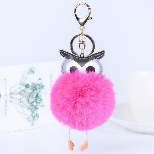 Owl Car Pendant Faux Fur Ball Keychain Handbag Hanging (Rose Red)