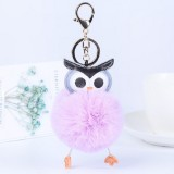 Owl Car Pendant Faux Fur Ball Keychain Handbag Hanging (Purple)
