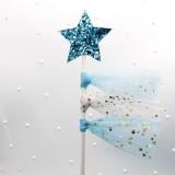 5 PCS Net Yarn Tassels Pentacle Cake Decoration Creative Dessert Table Inserted Card Parties (Blue Yarn Blue Star)
