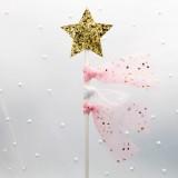 5 PCS Net Yarn Tassels Pentacle Cake Decoration Creative Dessert Table Inserted Card Parties (Pink Yarn Gold Star)