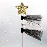 5 PCS Net Yarn Tassels Pentacle Cake Decoration Creative Dessert Table Inserted Card Parties (Black Yarn Gold Star)
