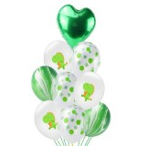 Birthday Party Dinosaur Latex Sequin Balloon Party Atmosphere Decoration Dinosaur Set, Style: Green Agate Bouquet Combination