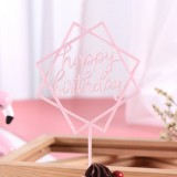 3 PCS Acrylic Cake Decoration Card Birthday Table Party Dress Up Dessert Polygonal Plug-in Decoration (Pink)