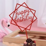 3 PCS Acrylic Cake Decoration Card Birthday Table Party Dress Up Dessert Polygonal Plug-in Decoration (Red)