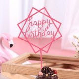 3 PCS Acrylic Cake Decoration Card Birthday Table Party Dress Up Dessert Polygonal Plug-in Decoration (Rose Red)