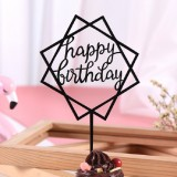3 PCS Acrylic Cake Decoration Card Birthday Table Party Dress Up Dessert Polygonal Plug-in Decoration (Black)