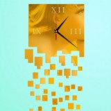 Mirror Clock Personality Wall Clock Three-dimensional Wall Decoration Mosaic Wall Clock (Gold)