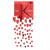 Mirror Clock Personality Wall Clock Three-dimensional Wall Decoration Mosaic Wall Clock (Red)
