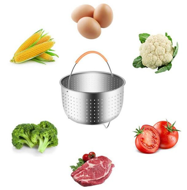 Stainless Steel Steaming Basket Plug-in Silicone Handle Pressure Cooker Steamer Kitchen Cooker Accessories, Typle: 3 Quarts
