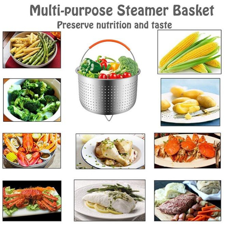 Stainless Steel Steaming Basket Plug-in Silicone Handle Pressure Cooker Steamer Kitchen Cooker Accessories, Typle: 6 Quarts