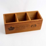2 PCS Crown Wooden Sundries Storage Box Desktop Drawers Cosmetics Jewelry Organizer Cabinets (Retro Color)