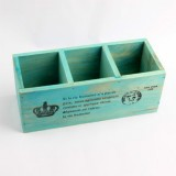 2 PCS Crown Wooden Sundries Storage Box Desktop Drawers Cosmetics Jewelry Organizer Cabinets (Blue)