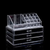 Transparent Acrylic Desktop Multi-layer Drawer Storage and Finishing Lipstick Rack Makeup Box, Color: 3 Compartment Cosmetic Case