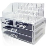 Transparent Acrylic Desktop Multi-layer Drawer Storage and Finishing Lipstick Rack Makeup Box, Color: 4 Compartment Cosmetic Case