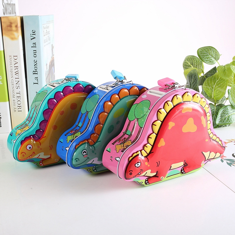 Creative Children Iron Dinosaur Piggy Bank with Lock, Random Color Delivery