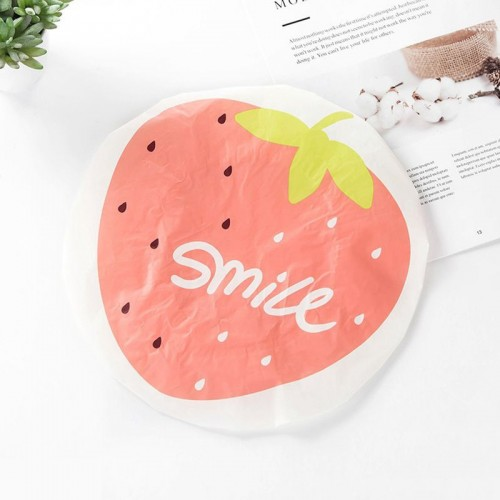 Cute Cartoon Lace Elastic Waterproof Fruit Pattern Shower Cap (Strawberry)