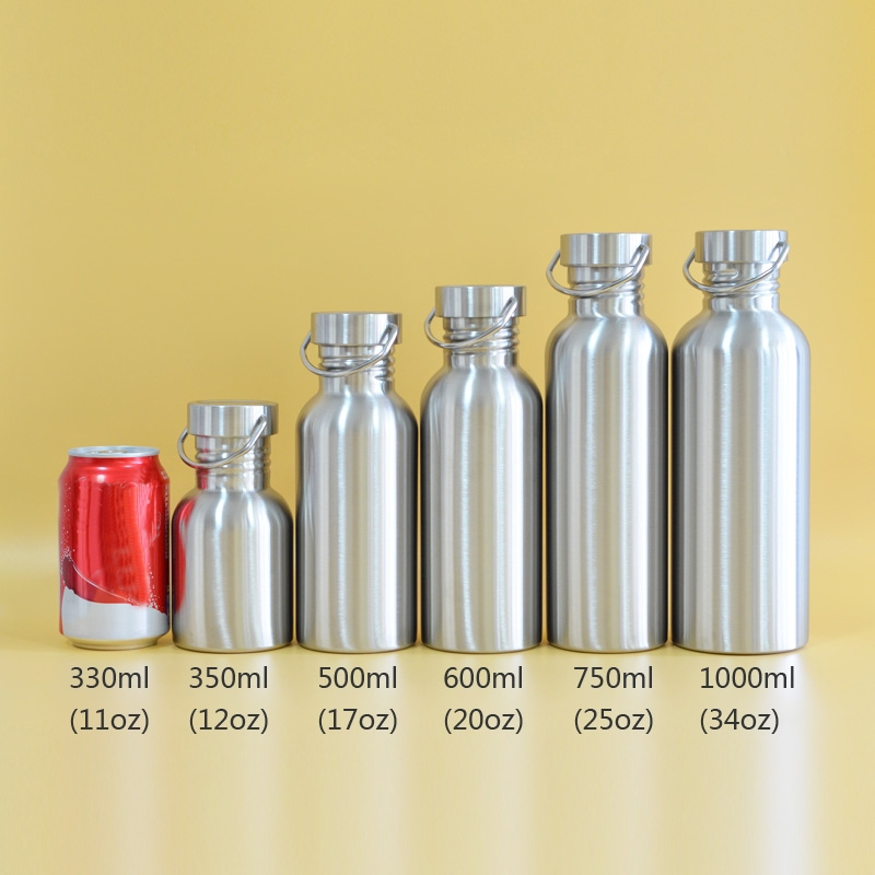 2 PCS Stainless Steel Water Bottle Leak-proof Jar Sports Flask for Biking Camping Hiking Travel Outdoor, Capacity: 400ml