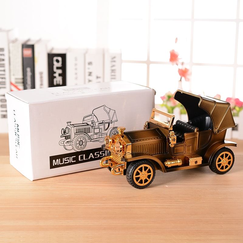 Walkable Vintage Car Music Box Retro Car Model Music Box Exquisite Small Ornaments (Bronze-Without Stand)