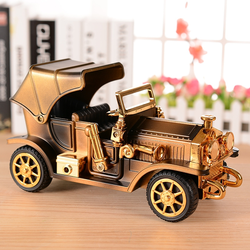 Walkable Vintage Car Music Box Retro Car Model Music Box Exquisite Small Ornaments (Beige Yellow-Without Stand)
