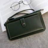 PU Leather Long Wallet Women Purse Female Clutch Zipper Wallets (Dark Green)