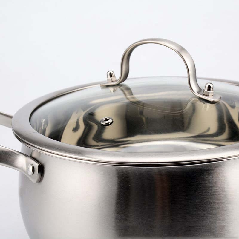 Thickened Bottom Stainless Steel Soup Pot With Double Handle Glass Cover Non-stick Pan, Size: 22cm