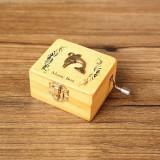 Creative Hand-cranked Wooden Music Box Valentine Day Gift (Dolphin)
