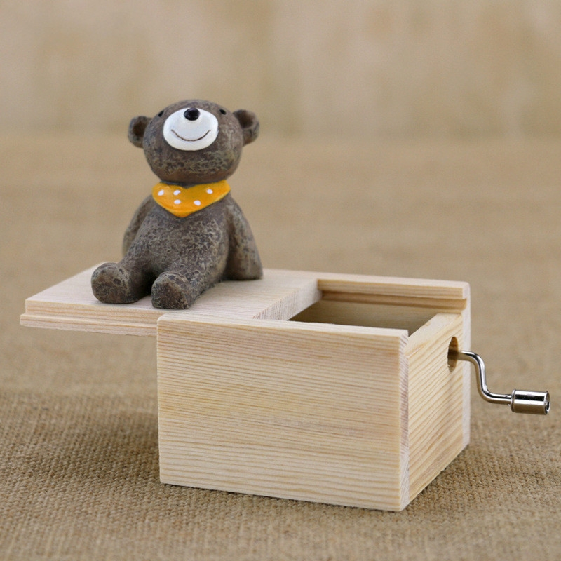 Mini Cute Animal Wooden Hand-cranked Music Box, Music: City in the Sky (Yellow Scarf Bear)