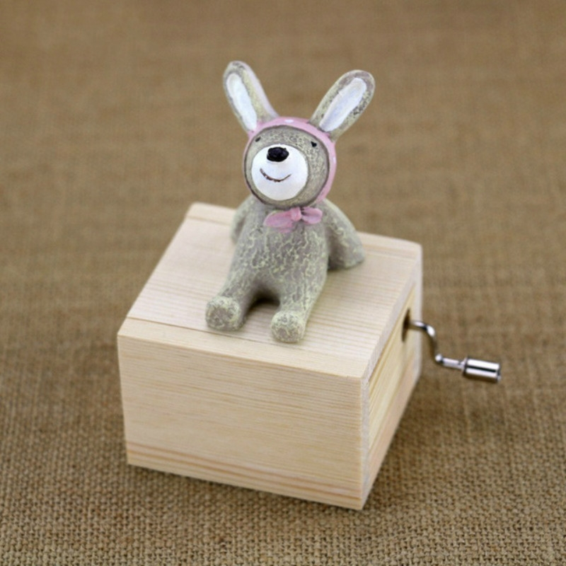 Mini Cute Animal Wooden Hand-cranked Music Box, Music: City in the Sky (Bunny)