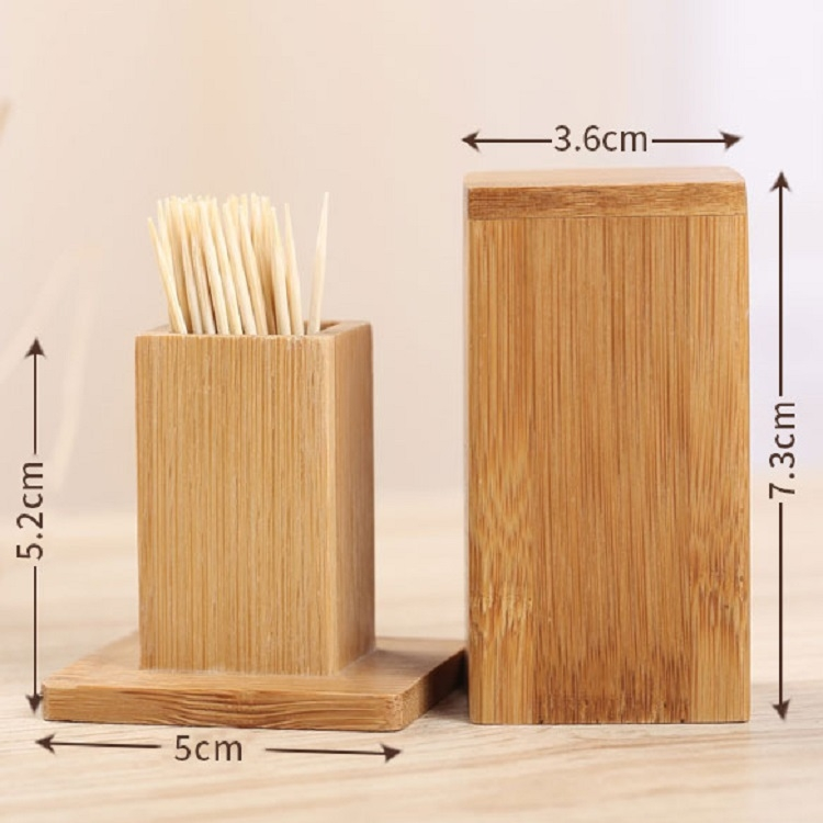 2 PCS Natural Bamboo Toothpick Box Square Restaurant Hotel Toothpick Can with Lid