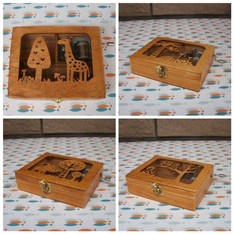 Forest Animal Creative Home Birthday Gift Hand Music Box Crafts Decoration (Monkey)