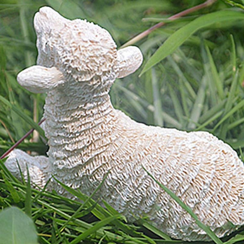 Resin Crafts Lambs Ornaments Simulation Sheep Pendulum Gardening Potted Ornaments