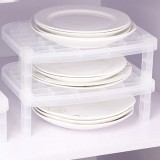 Tableware Dish Stacking Drain Rack Translucent Plastic Kitchen Storage Rack