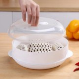 2 PCS Microwave Steamer Cooker Steam Cooking Pot Accessories Vegetables Seafood Steamer, Layers: Single layer