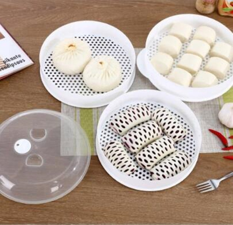 2 PCS Microwave Steamer Cooker Steam Cooking Pot Accessories Vegetables Seafood Steamer, Layers: Double layer