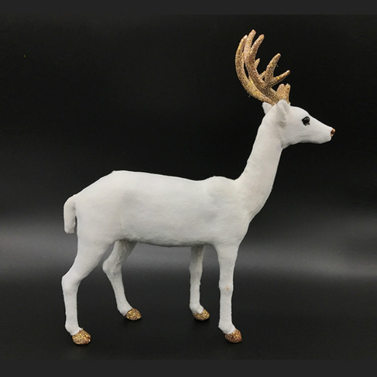 Simulation Deer Home Ornaments Plush Christmas Deer Doll Holiday Decorations, Size: 15x15cm, Specification: Straight Head
