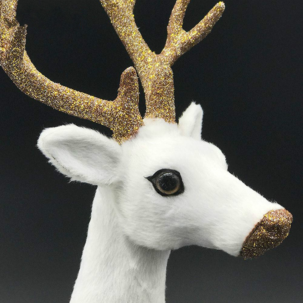 Simulation Deer Home Ornaments Plush Christmas Deer Doll Holiday Decorations, Size: 24x24cm, Specification: Straight Head