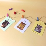 2 Sets of Cat Hanging Paper Photo Frame and Clip Twine Photo Frame Hanging Photo Wall