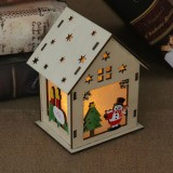 Christmas Luminous Wooden House Christmas Tree Decorations Hanging Ornaments DIY Gift Window Decoration, Style: Large Snowman
