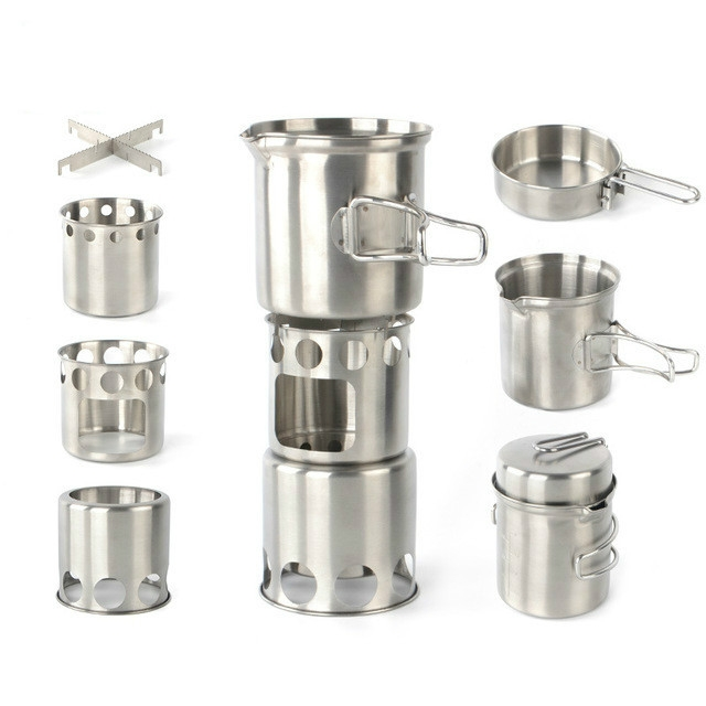 Outdoor Stainless Steel Windproof Stove Portable Camping Roast Stove Set, Specification: Stove Set+Wood Stove