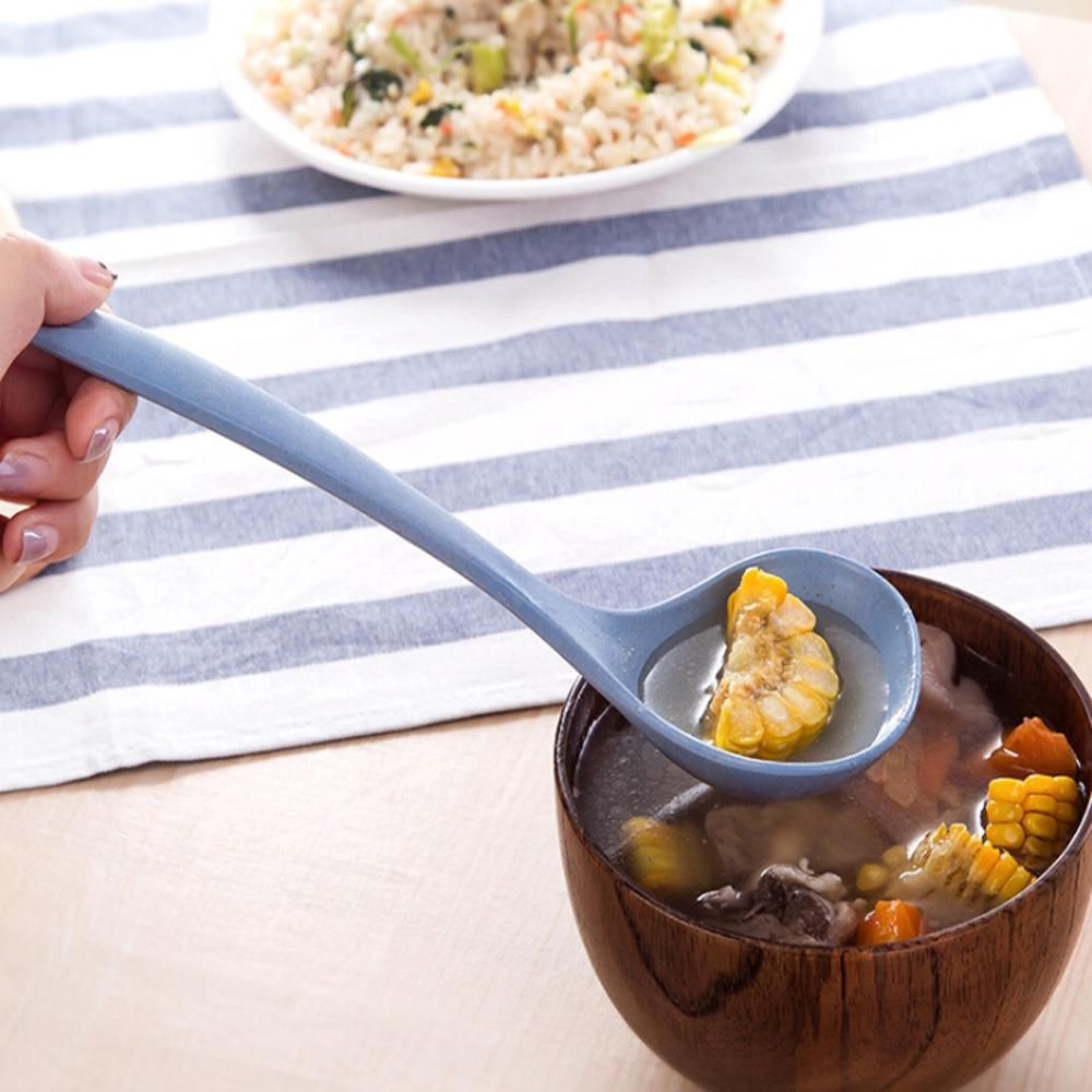 2 PCS Hanging Wheat Straw Soup Spoon Tableware (Beige)