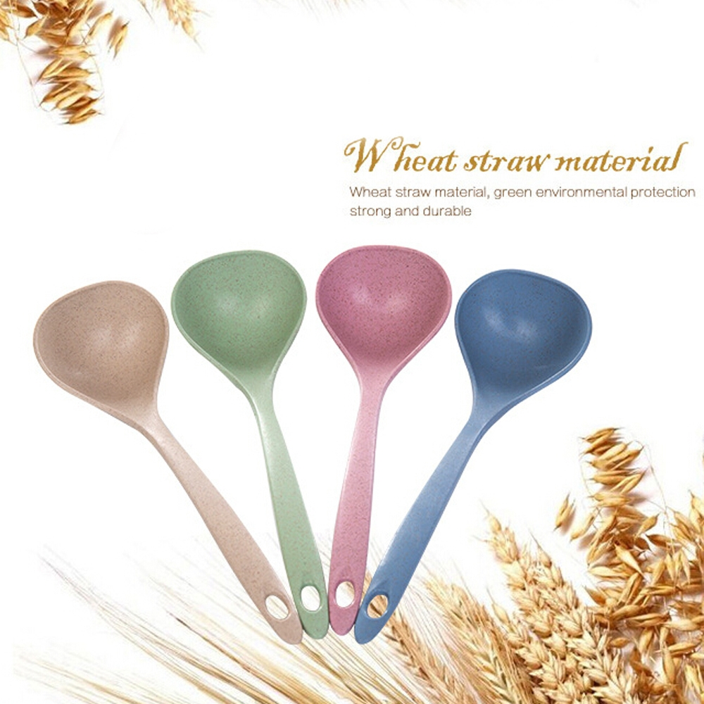 2 PCS Hanging Wheat Straw Soup Spoon Tableware (Blue)