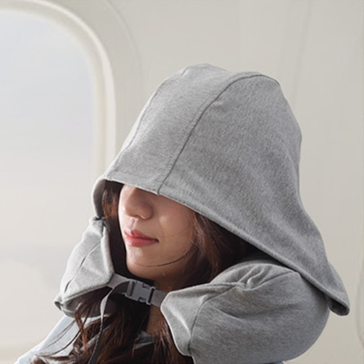 Portable Airplane Travel U-shaped Hooded Pillow Nap Time Neck Pillow (Dark Grey)