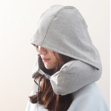 Portable Airplane Travel U-shaped Hooded Pillow Nap Time Neck Pillow (Light Grey)